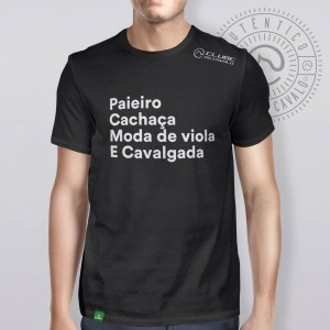 Camiseta Preta Frases: Paieiro... do Clube do Cavalo