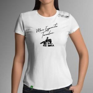 Camiseta Branca Frases: Meu Esporte... do Clube do Cavalo