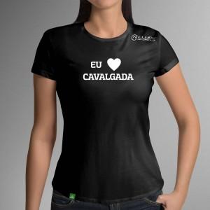 Camiseta Preta Frases: Eu Amo... do Clube do Cavalo