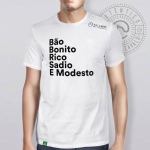Camiseta Branca Frases: Bão Bonito... do Clube do Cavalo