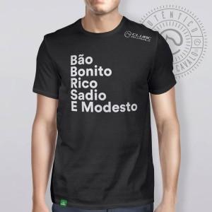 Camiseta Preta Frases: Bão Bonito... do Clube do Cavalo