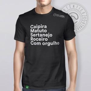 Camiseta Preta Frases: Caipira... do Clube do Cavalo