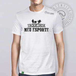 Camiseta Branca Frases: Vaquejada... do Clube do Cavalo