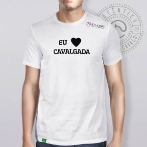Camiseta Branca Frases: Eu Amo Cavalg... do Clube do Cavalo