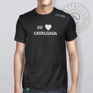 Camiseta Preta Frases: Eu Amo Cavalg... do Clube do Cavalo
