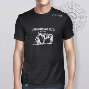 Camiseta Preta Frases: A tua Graça... do Clube do Cavalo