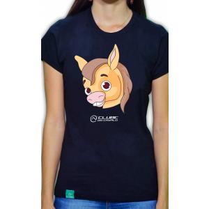 Camiseta Feminina Preta Emoji - Sorriso Aberto