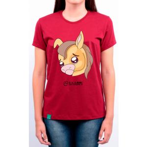 Camiseta Feminina Vermelha Emoji - Triste