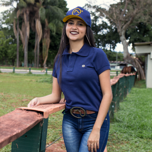 Camisa Polo original Azul Feminina + pingente Clube do Cavalo