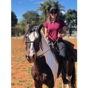 Camisa Polo original Vinho Feminina + pingente Clube do Cavalo