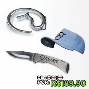 Kit com Boné Americano Unissex Jeans exclusivo Clube do Cavalo