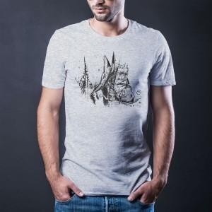 Camiseta Cinza - Estampa Bota